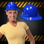 Blue Plastic Construction Hats - 12 Pack