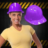 Purple Plastic Construction Hats - 12 Pack