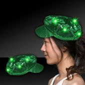 Green LED Sequin Newsboy Cap