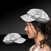 Silver LED Sequin Newsboy Cap