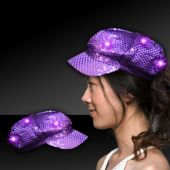Purple LED and Light-Up Sequin Newsboy Cap