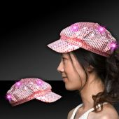 Pink LED Sequin Newsboy Cap