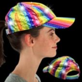 Rainbow Sequin LED Baseball Cap
