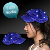 Blue LED Sequin Newsboy Cap