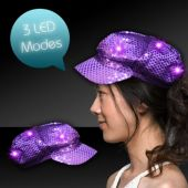 Purple LED Sequin Newsboy Cap
