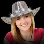 Silver Sequin LED Cowboy Hat