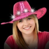 Pink Sequin LED Cowboy Hat