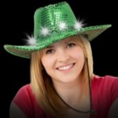 Green Sequin LED Cowboy Hat