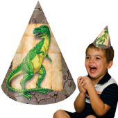 Dinosaur Party Cone Hats - 8 Pack