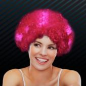 Pink LED and Light-Up Afro Wig