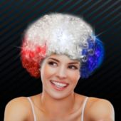 Red, White, And Blue Patriotic LED Spirit Wig