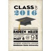 Stacked Text Vertical Graduation Invitation
