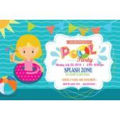 Blonde Sunglasses Inner Tube Pool Party Horizontal Invitation