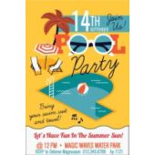 Yellow Pool Party Vertical Invitation