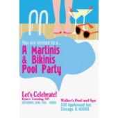 Martinis & Bikinis Pool Party Vertical Invitation