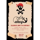 Ahoy Pirate Map Birthday Party Invitations