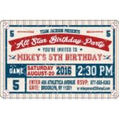 All Star Baseball Birthday Party Horizontal Invitations