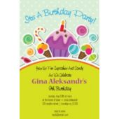 Yellow Sugar and Sweets Birthday Party Vertical Invitations