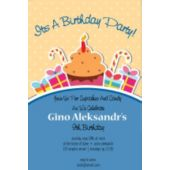 Blue Sugar and Sweets Vertical Birthday Party Invitation