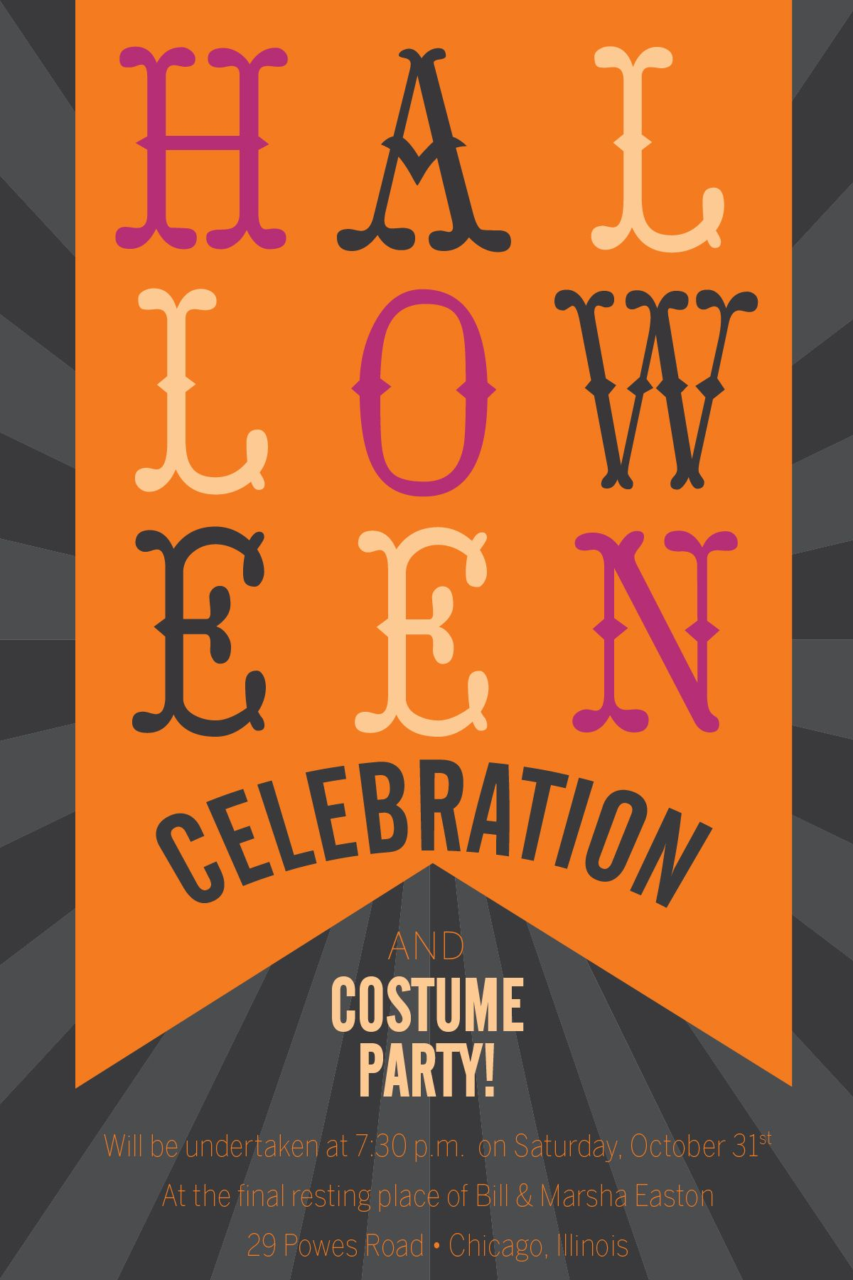 Halloween Banner Party Invitations