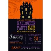 Orange Haunted House Halloween Party Invitation
