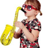 "Inflatable Saxophones - 24"" Multi-Color, 12 Pack"