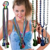 Rock Star Guitar Bead Necklaces - 33 Inch, 12 Pack