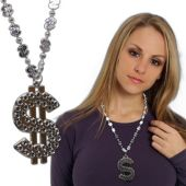 Silver Dollar Sign Necklace-24""