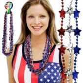 Red, White, Blue Star Bead Necklaces - 33 Inch, 12 Pack