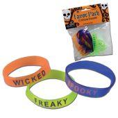 Halloween Attitude Bracelets - 12 Pack