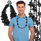 "Black Bead Top Hat Necklaces-36""-12 Pack"