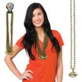 "Gold Bead Football Necklaces-33""-12 Pack"