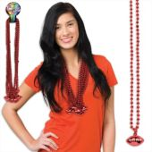 "Red Bead Football Necklaces-33""-12 Pack"