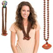 "Orange Bead Football Necklaces-33""-12 Pack"