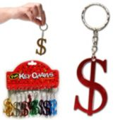 Assorted Color Metal Dollar Sign Key Chains - 12 Pack
