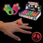 LED Peace Sign Jelly Rings-24 Pack