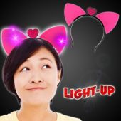 Flashing Cat Ear Headbands - 12 Pack