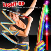 "Rainbow LED Twirling Ribbon 17"" Wand"