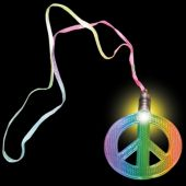 Peace Sign LED Necklaces - 12 Pack