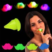 LED Mustache Jelly Rings-24 Pack