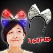 Silver LED Sequin Bow Headband