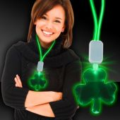 Green LED and Light-Up Shamrock Clover Necklace