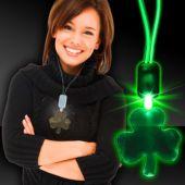 Green LED Shamrock Necklace with Extra Large Pendant