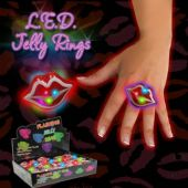 LED Red Lip Jelly Rings-24 Pack