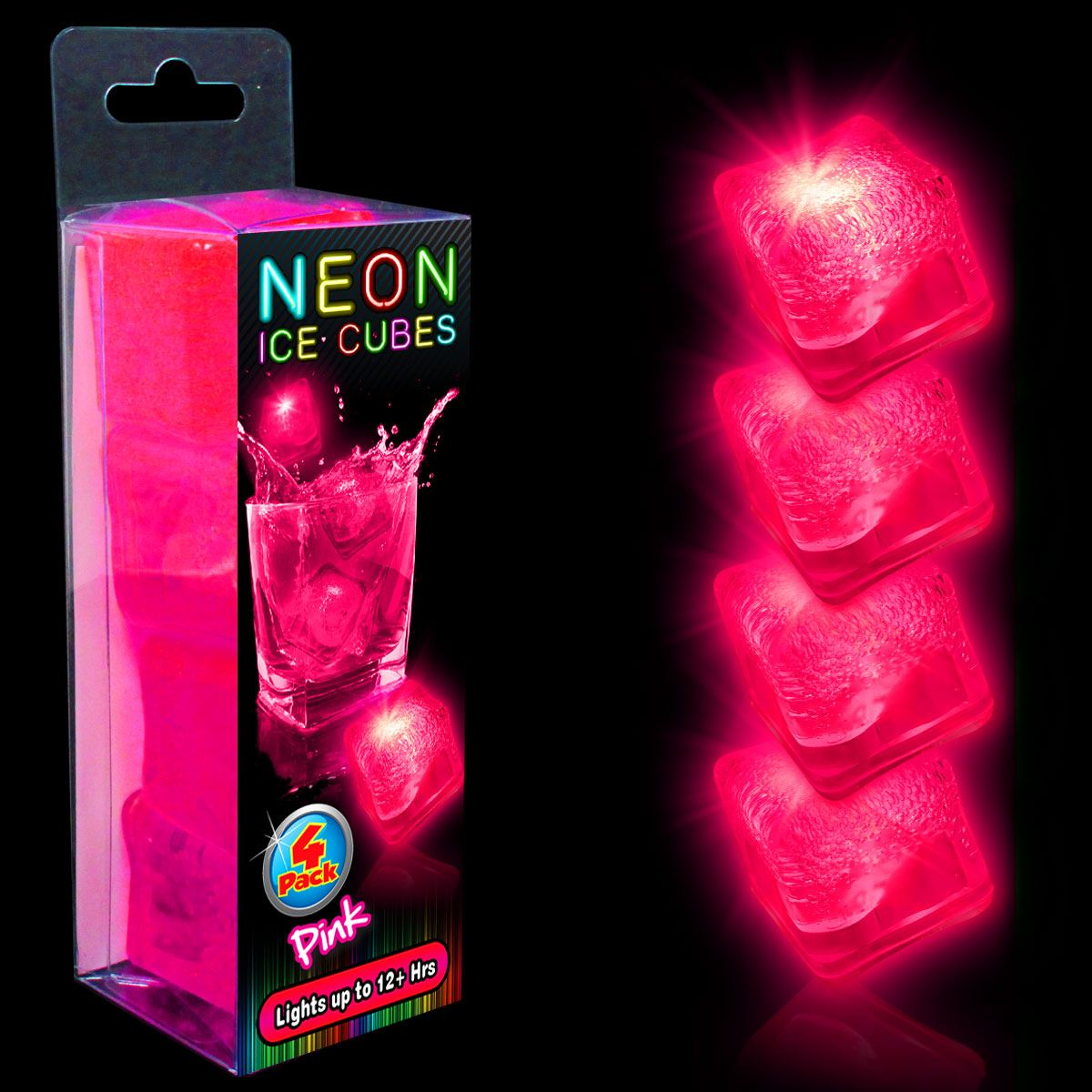 Neon Pink LED and Light-Up Ice Cubes- Unit of 4 LIT737UN