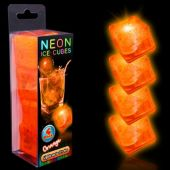 Neon Orange LED and Light-Up Ice Cubes- Unit of 4