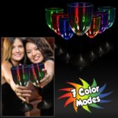 Multi-Color LED Wine Glass With Black Stem - 10 Ounce