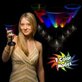Multi-Color LED 7 oz Martini Glass With Black Stem