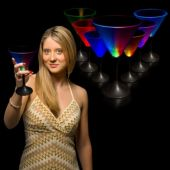 LED Martini Glass With Black Stem-7oz