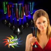 Multi-Color LED Champagne Glass With Black Stem - 7.5 Ounce